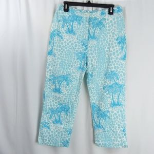 LILLY PULITZER Palm Blue White Palm Cropped Capris